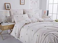 Комплект белого постельного белья Пчелки, евро размер 4 наволочки