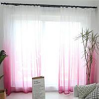 Тюль органза растяжка розовый с белым