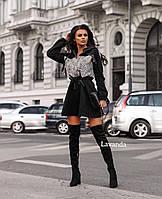 Женское стильное платье с леопардовым принтом клёш, фото 1