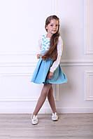 Сарафан на девочку бело-голубой  4127