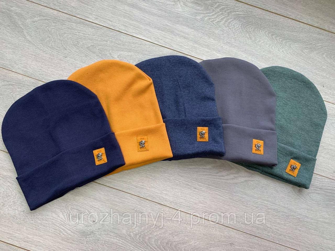 Трикотажная шапка на подкладке х/б р52-54 упаковка 5шт