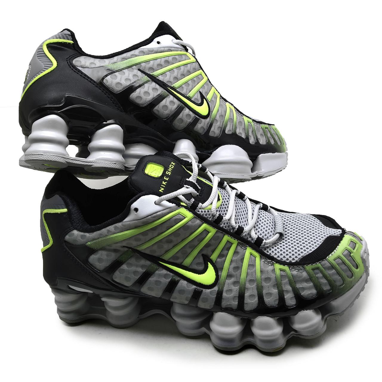 Кроссовки мужские серо-салатовые сетка похожие на Nike SHOX