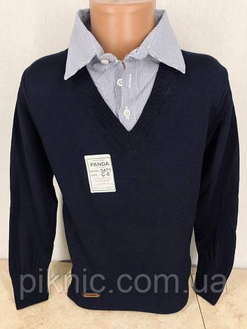 Рубашка обманка школьная для мальчиков 8,12 лет. Турция. Кофта с воротником в школу. Джинс, фото 2