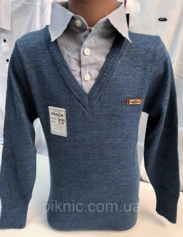 Рубашка обманка школьная для мальчиков 8,12 лет. Турция. Кофта с воротником в школу. Джинс
