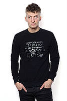 Модный и крутой свитшот для мужчин с круглой горловиной и набивным принтом. Цвет черный. Бренд Music.