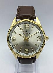 Часы Slava кварцевые коричневый/золото кожаный ремешок