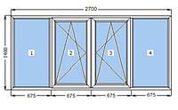 Окно металлопластиковое 2700 х 1400 мм