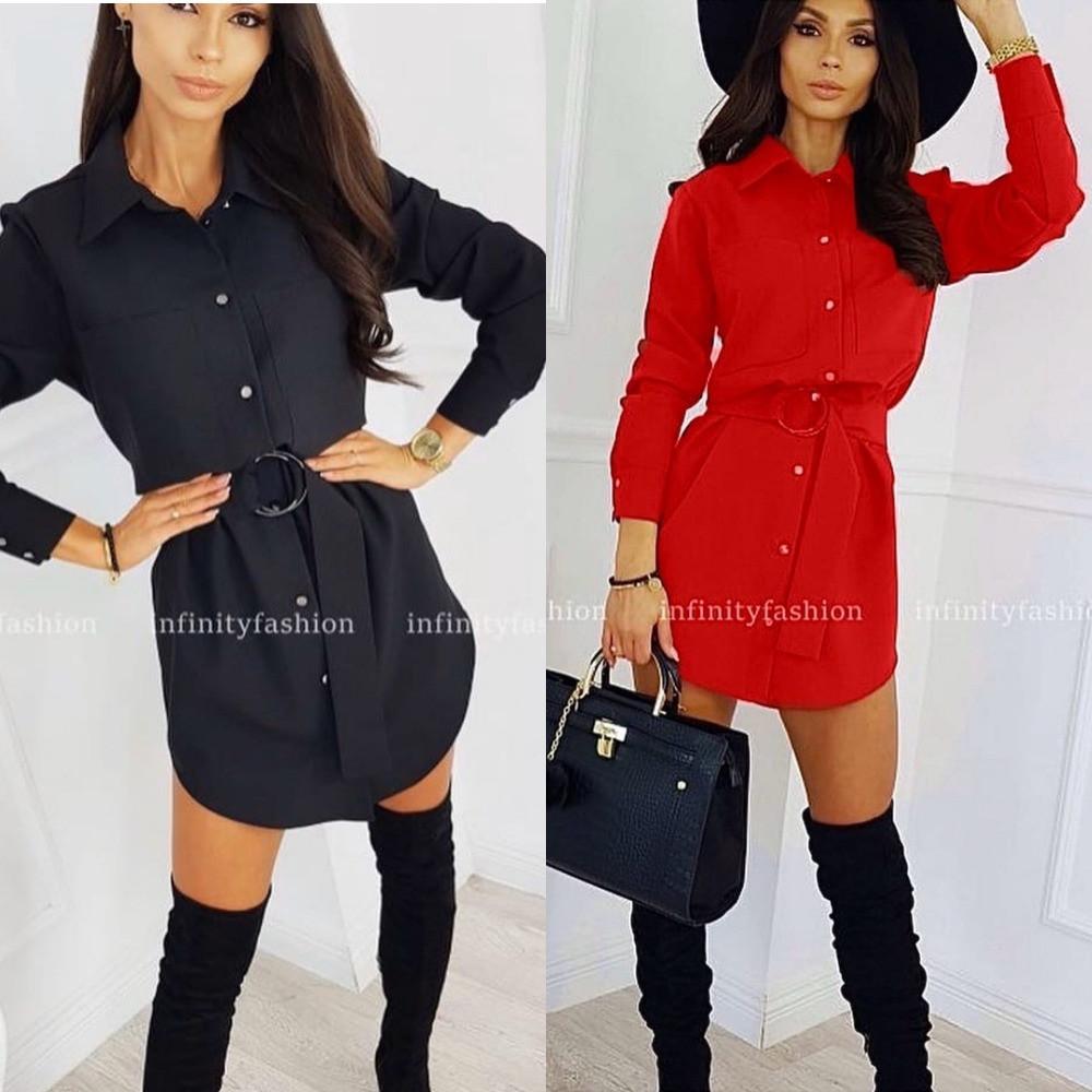 Платье рубашка,женское, на пуговицах, офисное, с поясом в комплекте, повседневное, прямое, модное, стильное