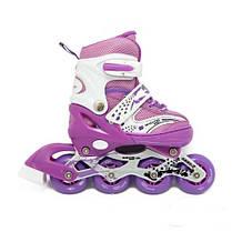 Детские ролики 34-37  р - Комплект Раздвижных Роликов Maraton Combo - Фиолетовый, фото 3