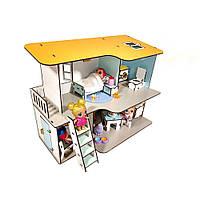Пляжный домик для кукол Лол с мебелью, лестницей, балкончиком и текстилем 2 этажа 4 комнаты 32 см