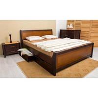 Кровать Олимп Сити с ящиками интарсия массив бука