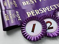 Вот такие фиолетовые ленточки и розетки с номерками делали на детский модельный конкурс «BEST PODIUM MODEL» от Журнала Podium real.