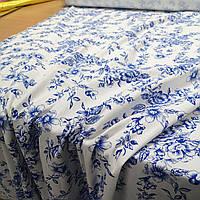 Ткань лен принт синие цветы на белом