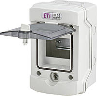 Наружный щит IP65 ETI ECH-4G 4 модуля 1101060 (распределительный, навесной, модульный, с прозрачной дверцей)