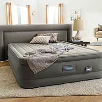 Надувная велюр кровать с электронасосом 220В. Размер: 152х203х46 см. Нагрузка: 273 кг. Intex 64770