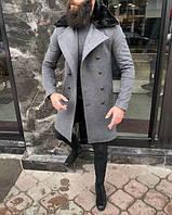 Демисезонное мужское пальто с мехом, Турция