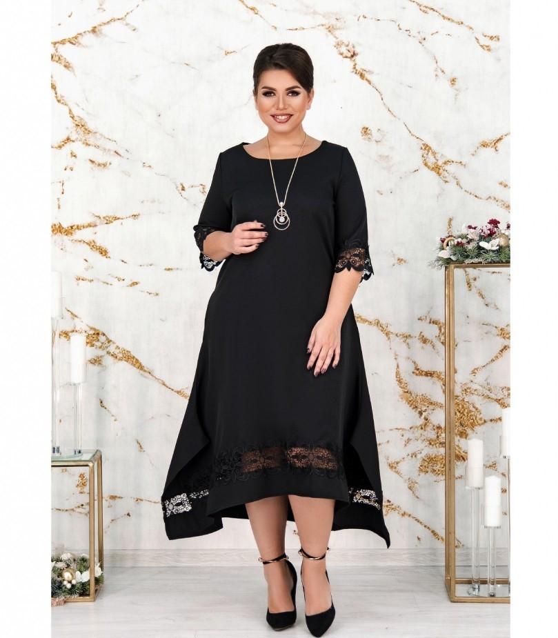 Платье женское большого размера цвет-черный