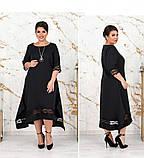Платье женское большого размера цвет-черный, фото 3