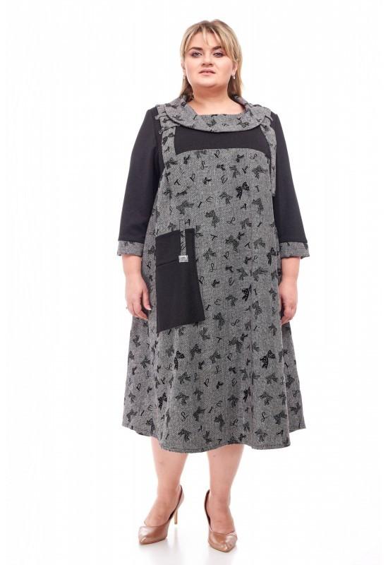 Женское платье батал Карина бантики (58-72)