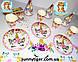 """Набор для Дня рождения """"Единорог цветочный"""": тарелки, стаканы, колпачки, скатерть, гирлянда, фото 2"""