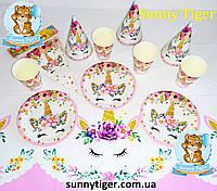 """Базовый набор для Дня рождения """"Единорог цветочный"""": тарелки, стаканы, колпачки, скатерть, гирлянда"""