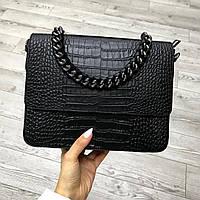 Очень красивая итальянская сумка натуральная кожа, Croco Embo, Bella Bertucci Черный