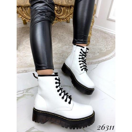 Женские белые кожаные деми ботинки, жіночі демі черевики білі шкіряні, эко кожа