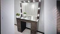 Стол для визажиста (макияжа) с двумя тумбами и зеркалом с подсветкой V505