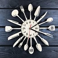 Дизайнерские часы на кухню из дерева «Столовые приборы», фото 1