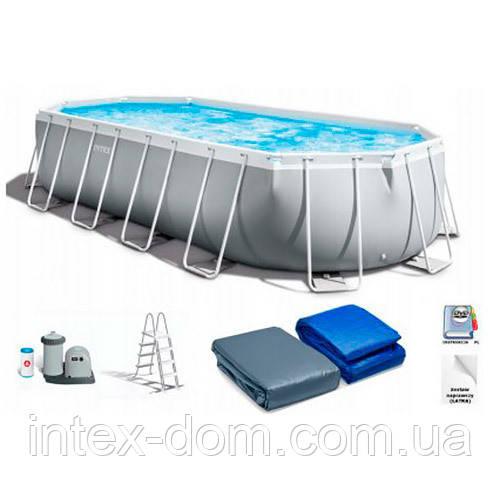 Каркасный бассейн Intex 26796, (503 x 274 x 122 см ) (Картриджный фильтр 5678 л/ч,тент, подстилка, лестница)