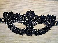 Маска карнавальная ажурные черные цветы