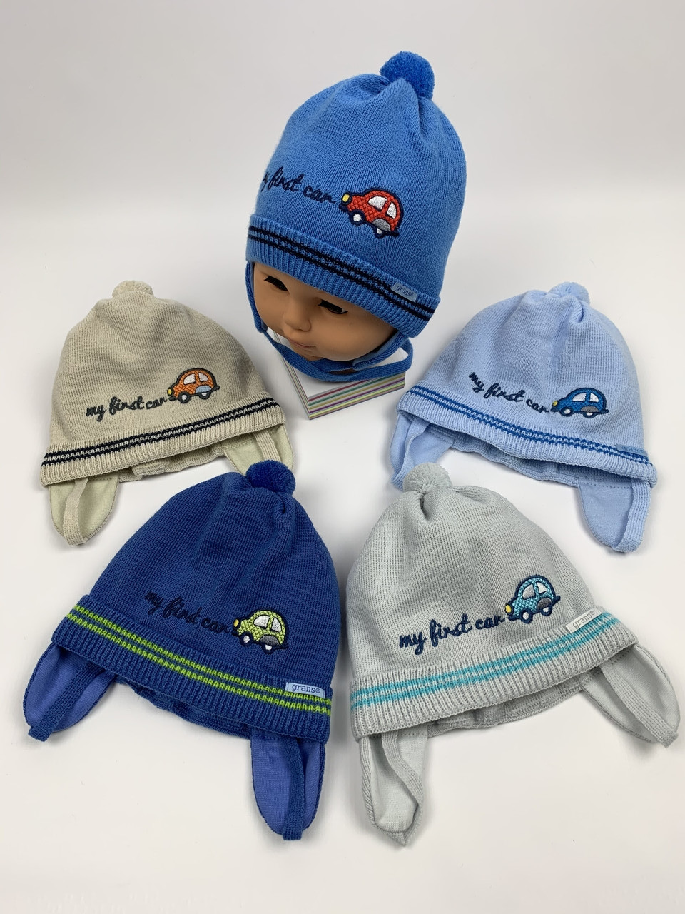 Детские демисезонные вязаные шапки для мальчиков оптом, р.40-42, Grans (ku427)