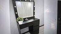 Стол для макияжа с LED лампами, все ящики открываются нажатием V456 черный