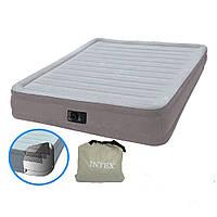 Надувная кровать с электронасосом 220В. Нагрузка: 273 кг. ДхШхВ: 191х137х33 см. Сумка. Intex 67768