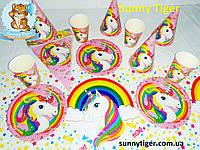 """Базовый набор для Дня рождения """"Единорог радужный"""": тарелки, стаканы, колпачки, скатерть, гирлянда"""