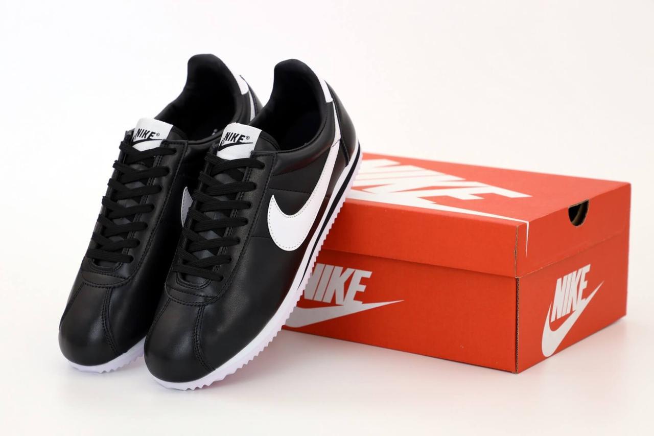 Черные кожаные кроссовки Nike Cortez Black Leather (Найк Кортез) мужские и женские размеры