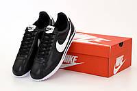 Черные кожаные кроссовки Nike Cortez Black Leather (Найк Кортез) мужские и женские размеры, фото 1