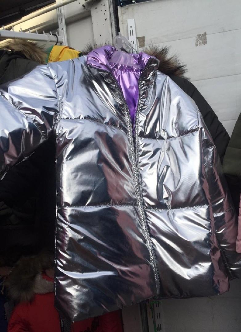 Демисезонная куртка для девочки металлик двухсторонняя