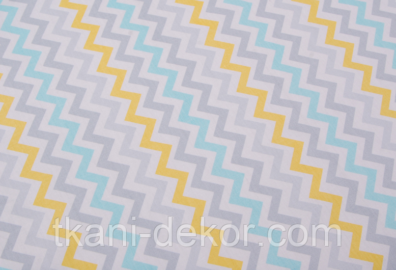 Сатин (хлопковая ткань) зигзаг желтый,серый,голубой (компаньон слоники геометрия)