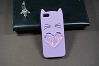 Чехол бампер силиконовый Apple iPhone 5/5s/se айфон Iphone 5 3D Кошачьи ушки сиреневый