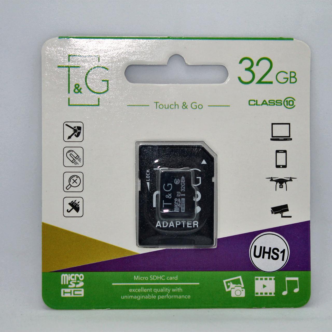 Карта памяти T&G micro SDHC 32 GB Class 10 UHS-1 Адаптер