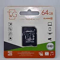 Карта памяти T&G micro SDHC 64 GB Class 10 UHS-1 Адаптер