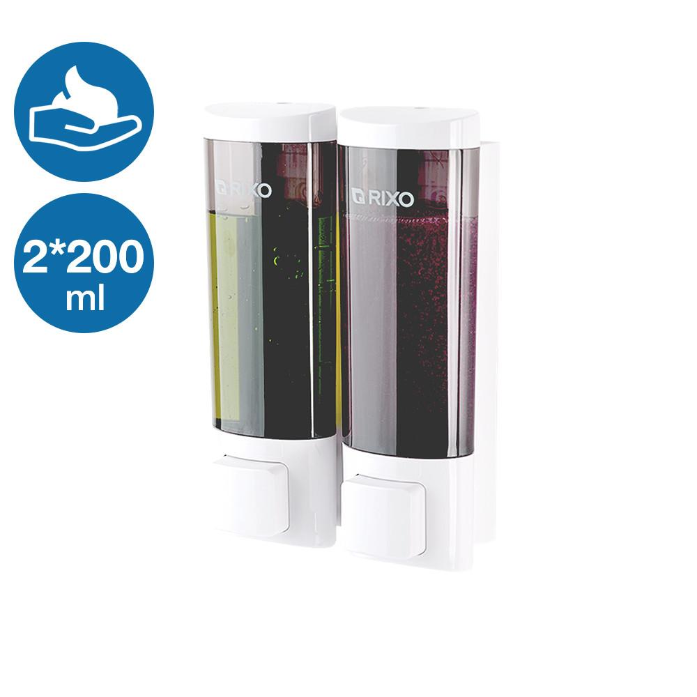 Двойной дозатор раздатчик мыла-пены 2 по 200 мл Rixo Lungo BPSW013W пластиковый кнопочный наливной