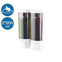 Двойной дозатор раздатчик мыла-пены 2 по 200 мл Rixo Lungo BPSW013W пластиковый кнопочный наливной, фото 1