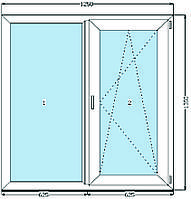 Окно металлопластиковое 1250 х 1350 мм