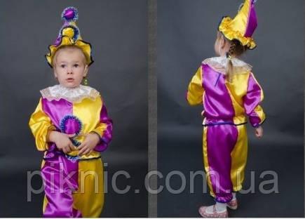 Детский карнавальный костюм Арлекин Скоморох Петрушка 3-5-7 лет. Маскарадный костюм