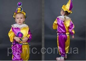 Детский карнавальный костюм Арлекин Скоморох Петрушка 3-5-7 лет. Маскарадный костюм, фото 2