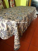 Скатерть льняная  с очень стильным орнаментом, лучший подарок женщинам (средний стол)