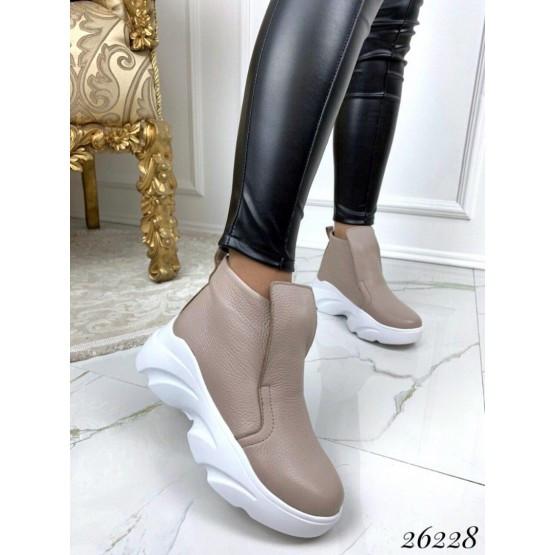 Женские бежевые кожаные деми ботинки, кроссовки, жіночі демі черевики кросівки бежеві шкіряні, нат кожа