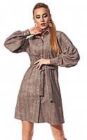 Платье-рубашка в клетку из вельвета . Модель 1204. Размеры 42-48